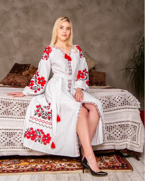 Купити вишиту сукню Паризький букет (біла з червоним) в Україні від виробника Галичанка фото 1