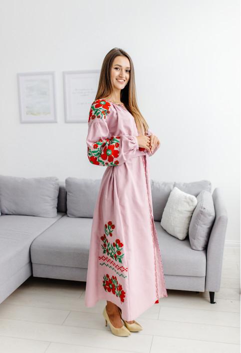 Купити вишиту сукню Паризький букет (рожеве) в Україні від виробника Галичанка фото 1