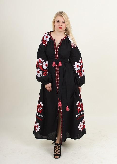 Купити вишиту сукню Паризький букет (чорний) в Україні від виробника Галичанка фото 1