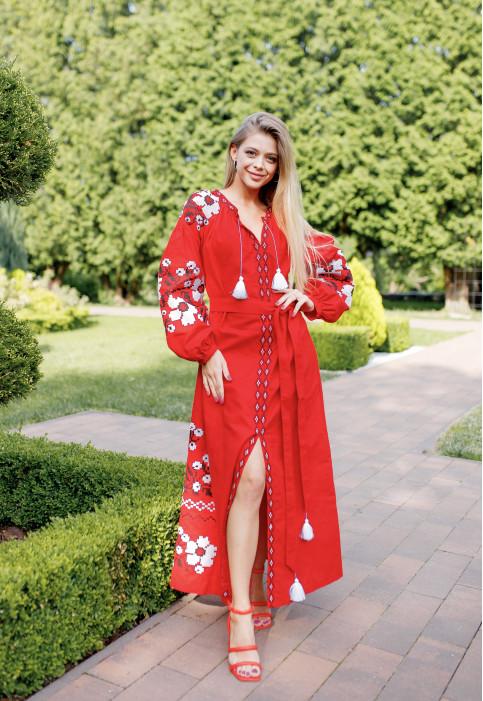 Купити вишиту сукню Паризький букет (червона) в Україні від виробника Галичанка фото 1