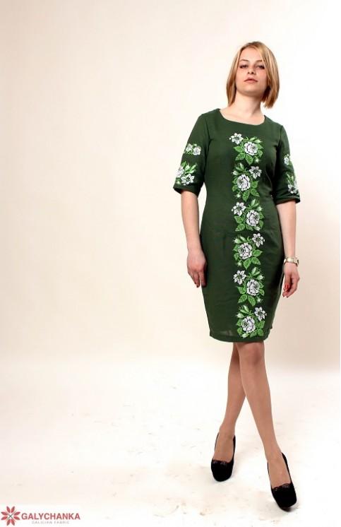 Купити вишиту сукню Пишна ружа (зелена) в Україні від виробника Галичанка фото 1