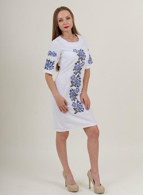 Купити вишиту сукню Пишна ружа (біла з синім) в Україні від виробника Галичанка фото 1
