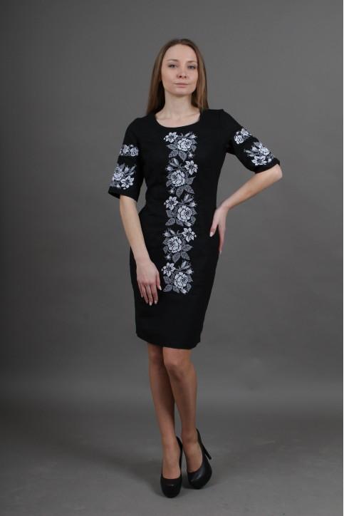 Купити вишиту сукню Пишна ружа (чорна) в Україні від виробника Галичанка фото 1