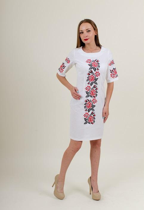 Купити вишиту сукню Пишна ружа (біла з червоним) в Україні від виробника Галичанка фото 1