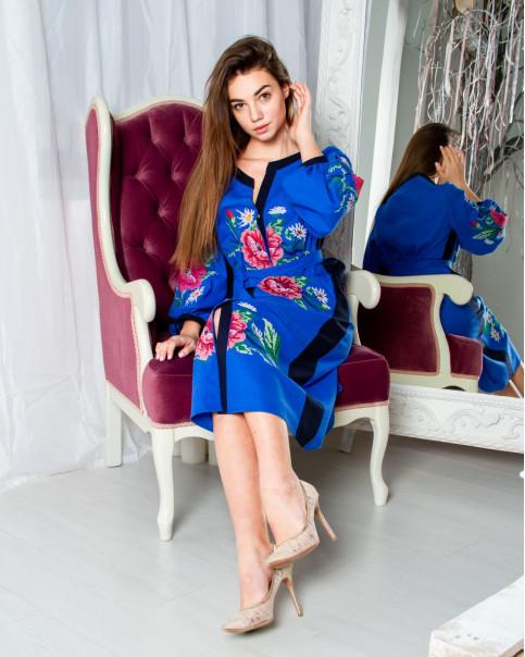 Купити вишиту сукню Роксолана (електрик синій) в Україні від виробника Галичанка фото 1