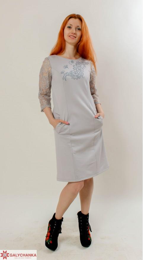 Купити вишиту сукню Сеньйорина (сірий з сірим) в Україні від виробника Галичанка фото 1