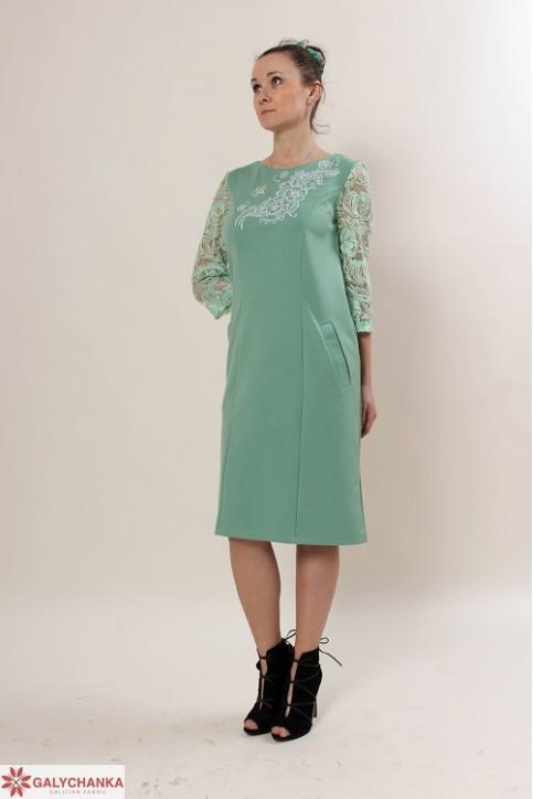Купити вишиту сукню Сенйорина (ментол) в Україні від виробника Галичанка фото 1