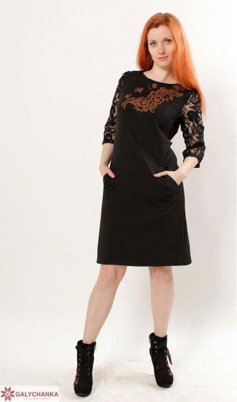 Купити вишиту сукню Сеньйорина (чорна з золотом) в Україні від виробника Галичанка фото 1