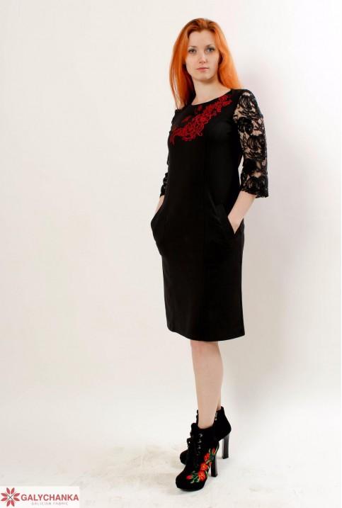 Купити вишиту сукню Сеньйорина (чорна з червоним) в Україні від виробника Галичанка фото 1