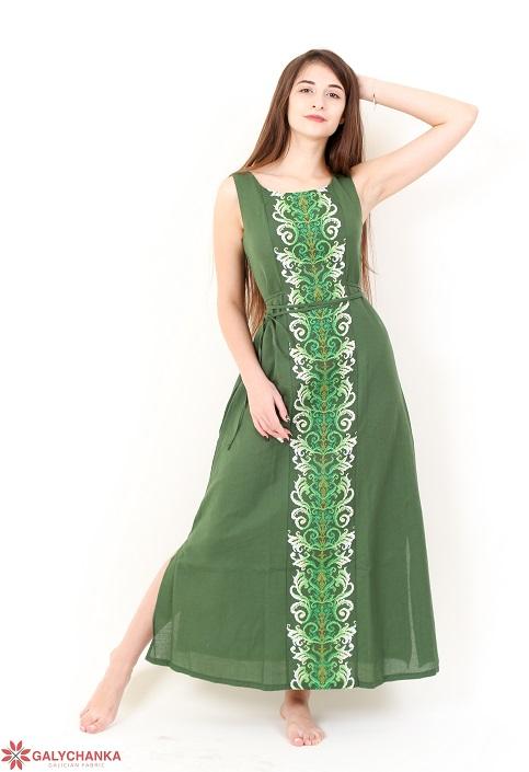 Купити вишиту сукню Сучасна тенденція (т.зелене) в Україні від виробника Галичанка фото 1