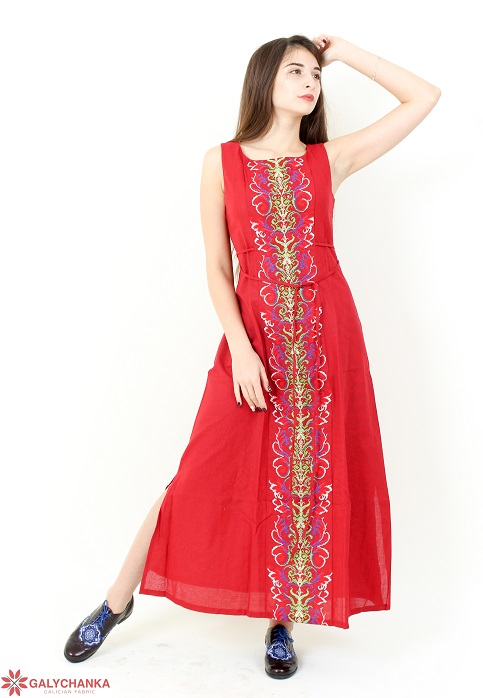 Купити вишиту сукню Сучасна тенденція (вишневе) в Україні від виробника Галичанка фото 1
