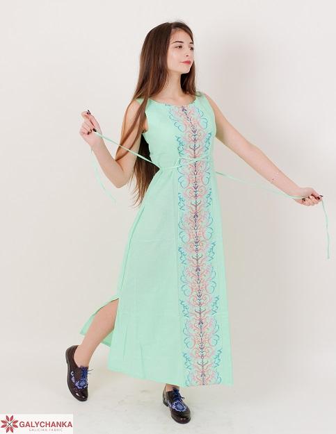 Купити вишиту сукню Сучасна тенденція (ментол) в Україні від виробника Галичанка фото 1