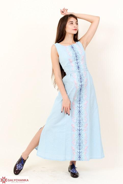 Купити вишиту сукню Сучасна тенденція (голубе) в Україні від виробника Галичанка фото 1