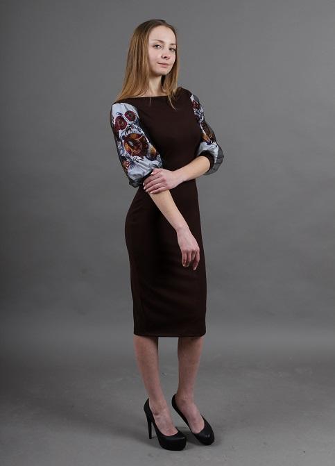 Купити вишиту сукню Віолетта (коричнева) в Україні від виробника Галичанка фото 1
