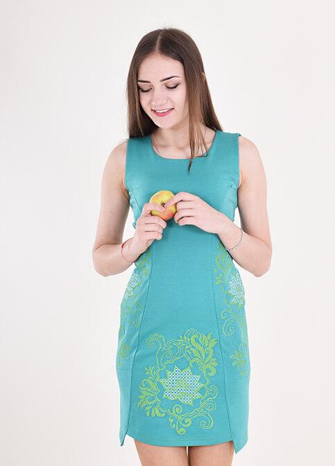 Купити вишиту сукню Віраж (зелене) в Україні від виробника Галичанка фото 1