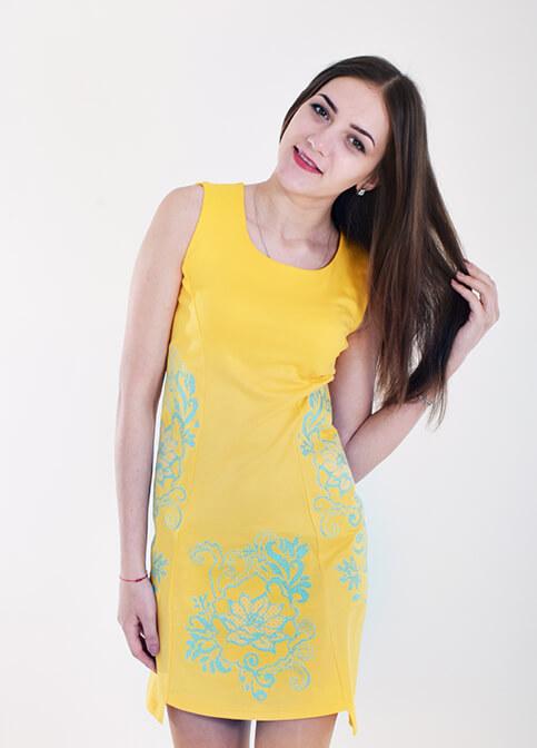Купити вишиту сукню Віраж  (жовте) в Україні від виробника Галичанка фото 1