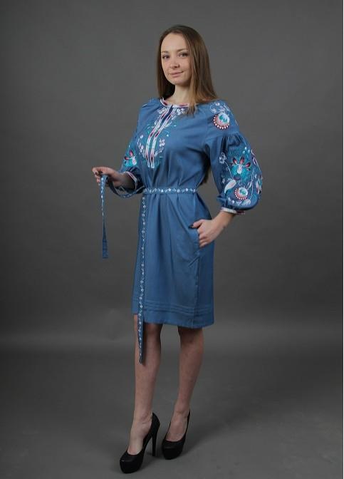 Купити вишиту сукню Водограй (джинс) в Україні від виробника Галичанка фото 1