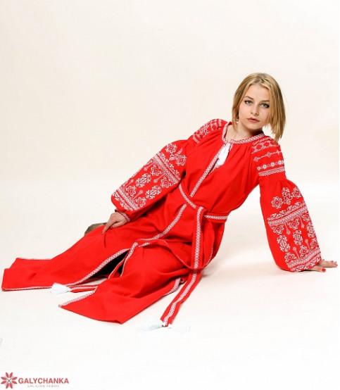 Купити вишиту сукню Злата (червоне з білим) в Україні від виробника Галичанка фото 1