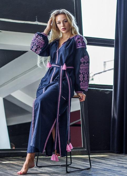 Купити вишиту сукню Злата (синя) в Україні від виробника Галичанка фото 1