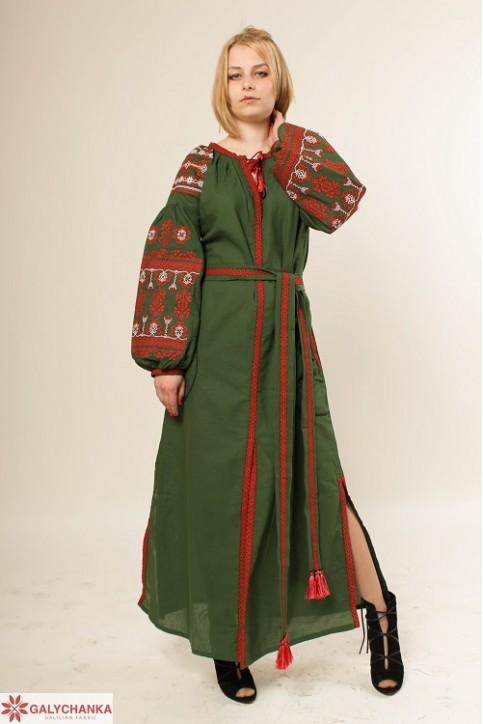 Купити вишиту сукню Злата (зелена) в Україні від виробника Галичанка фото 1