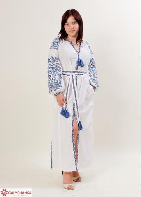 Купити вишиту сукню Злата (біла з синім) в Україні від виробника Галичанка фото 1