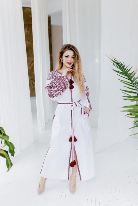 Купити вишиту сукню  Злата (біла з вишневим) в Україні від виробника Галичанка фото 1