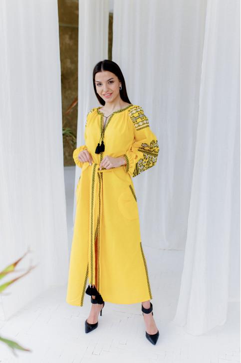 Купити вишиту сукню  Злата (жовта з чорним) в Україні від виробника Галичанка фото 1