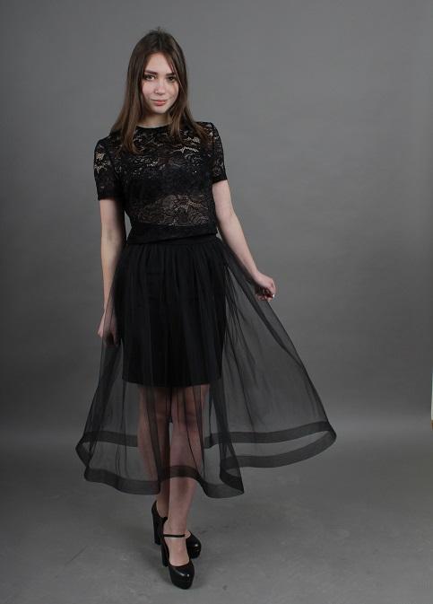 Купити спідницю з вишивкою Модель wsk-0103-1 (чорна, сітка чорна) в Україні від Галичанка фото 1