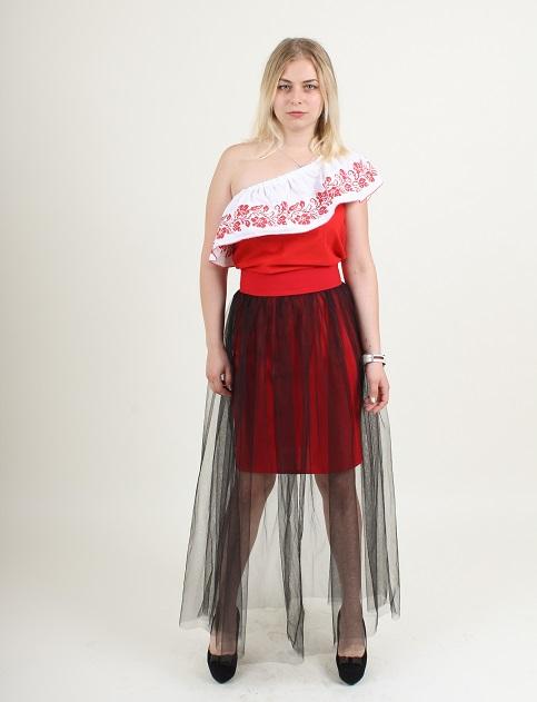 Купити спідницю з вишивкою Модель wsk-0103 (червона, сітка чорна) в Україні від Галичанка фото 1