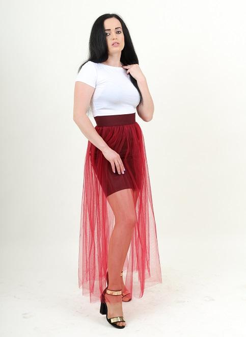 Купити спідницю з вишивкою Модель Wsk-0103 (вишнева, сітка червона) в Україні від Галичанка фото 1