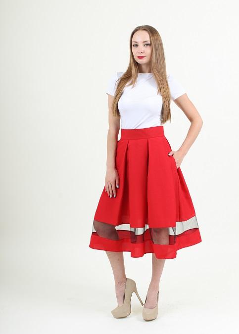 Купити спідницю з вишивкою Модель wsk-0104 (червона) в Україні від Галичанка фото 1