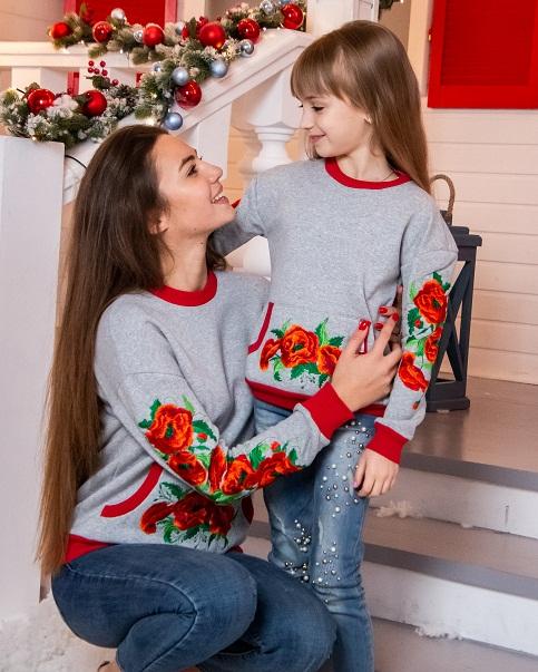Купити жіночий світшот з вишивкою Мілена (сірий) в Україні від Галичанка фото 1