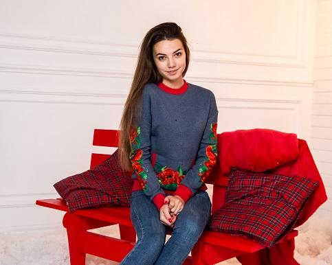 Купити жіночий світшот з вишивкою Мілена (джинс) в Україні від Галичанка фото 1