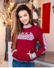 Купити жіночий світшот з вишивкою Різдвяна зірка (вишневий) в Україні від Галичанка фото 1