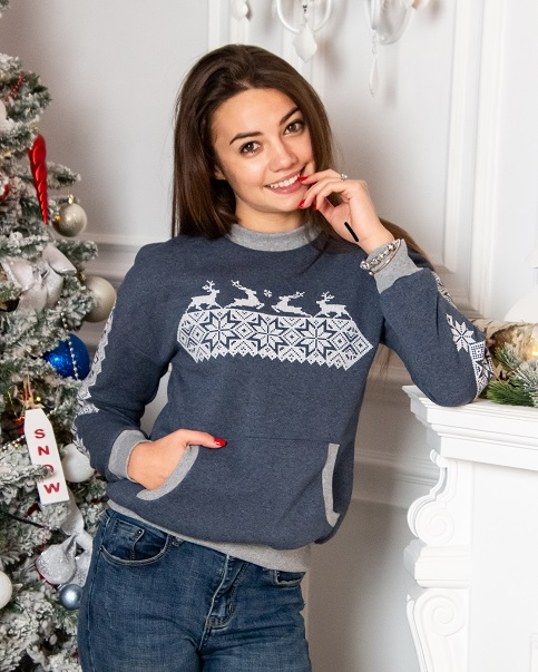 Купити жіночий світшот з вишивкою Різдвяна зірка (джинс) в Україні від Галичанка фото 1