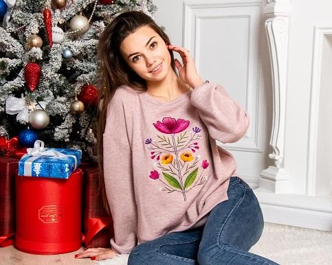 Купити жіночий світшот з вишивкою Сон-трава в Україні від Галичанка фото 1