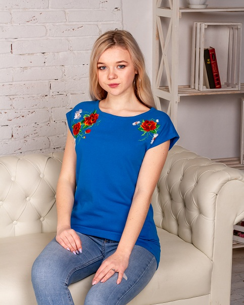 Купити жіночу туніку з вишивкою Феєрія (голубий) в Україні від Галичанка фото 1