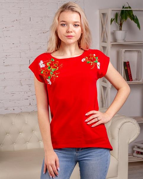 Купити жіночу туніку з вишивкою Феєрія (червоний) в Україні від Галичанка фото 1