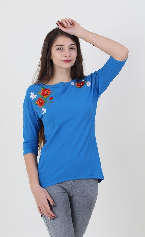 Купити жіночу туніку з вишивкою Феєрія плюс (голубий) в Україні від Галичанка фото 1