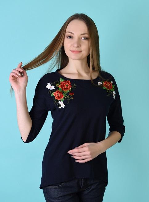 Купити жіночу туніку з вишивкою Феєрія плюс (темно-синій з синім) в Україні від Галичанка фото 1