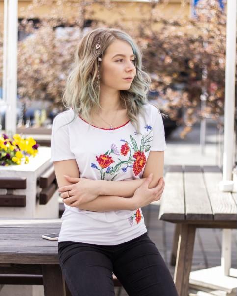Купити жіночу туніку з вишивкою Гілочка (білий) в Україні від Галичанка фото 1