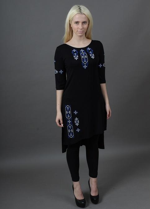 Купити жіночу туніку з вишивкою Голубка (чорний з синім) в Україні від Галичанка фото 1
