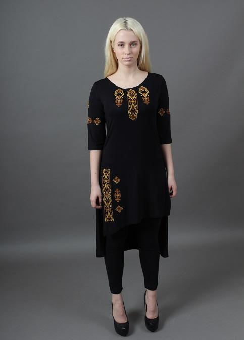 Купити жіночу туніку з вишивкою Голубка (чорний з  золотим) в Україні від Галичанка фото 1