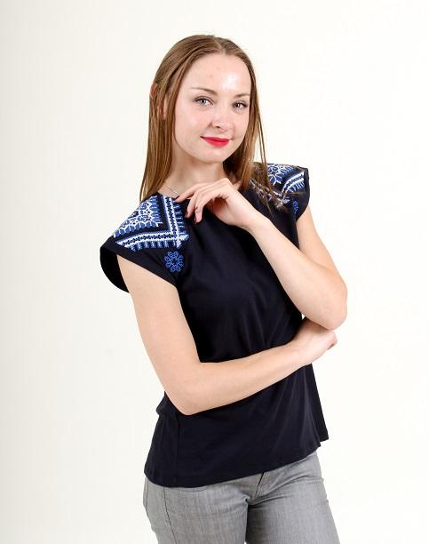 Купити жіночу туніку з вишивкою Українській мотив (темно-синій з синім) в Україні від Галичанка фото 1