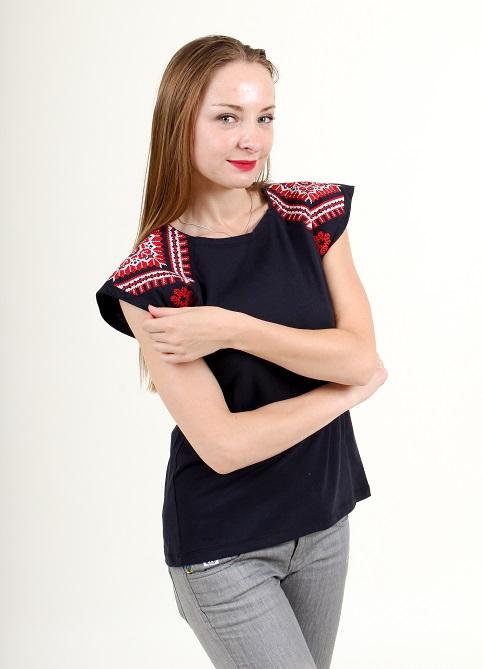 Купити жіночу туніку з вишивкою Українській мотив  (темно-синій з червоним) в Україні від Галичанка фото 1