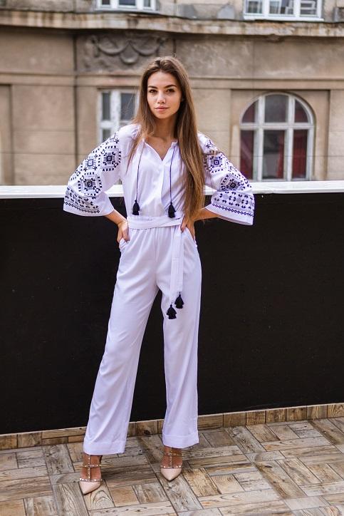 Купити жіночий літній комбінезон Софі (білий) з вишивкою в Україні від Галичанка фото 1
