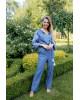 Купити жіночий літній комбінезон Софі (джинс т. з білим) з вишивкою в Україні від Галичанка фото 1