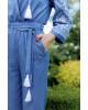 Купити жіночий літній комбінезон Софі (джинс т. з білим) з вишивкою в Україні від Галичанка фото 2