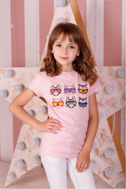 Дитяча футболка Casual  Сонячні Котики (пудра) – купити в Україні від Галичанка фото 1