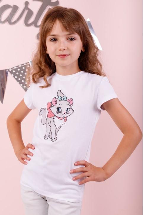 Дитяча футболка Casual  Киця Мура (біла) – купити в Україні від Галичанка фото 1